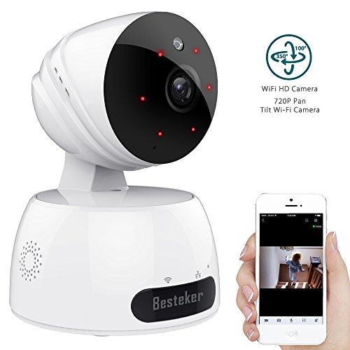 IP Kamera Alarmanlage, Besteker WlAN HD 720P mit IR-Nachtsicht Gegensprechfunktion Bewegungsmelder Schwenkbar Überwachungskamera Innen