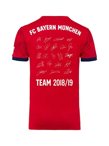 FC Bayern München Trikot Home Kinder, Unterschriften des ganzen Teams als Flock, Jersey 18/19 Größe 140