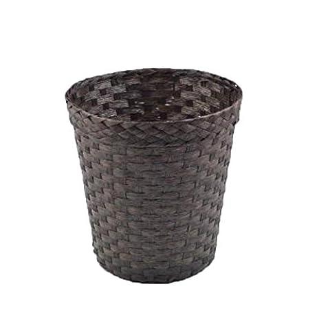 LIYONGDONG® Trash can Rattan made Creative No cover round Barrel shape Storage barrels Home living room Bathroom Desktop Trash baskets(Two loaded) B