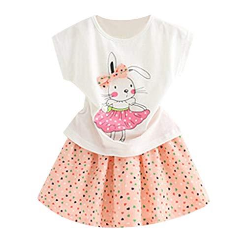 Mädchen Kleinkind Kinder Baby Outfits Kleidung Cartoon Kaninchen T-Shirt Tops + Dot Rock Set Baumwolle Blumen Kleid Prinzessin Freizeit Sommer T-Shirt Festlich Partykleid Kleid - Wikinger Kleinkind-shirt