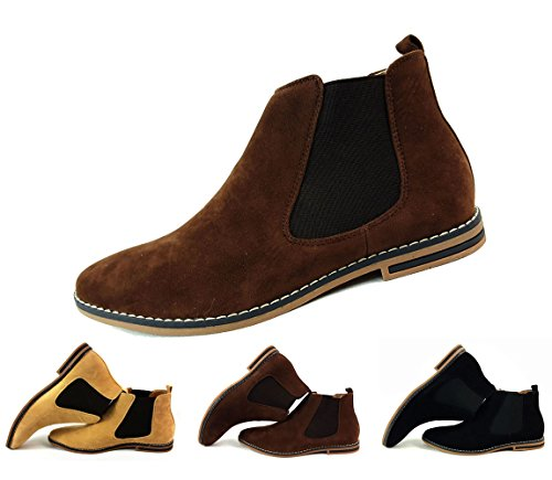 Brown Mens Suede Chelsea Boots Italian Style Smart Casual Desert Ankle Shoes...
