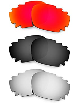 Hkuco Mens Replacement Lenses For Oakley Racing Jacket Vented Red/Black/Titanium Sunglasses
