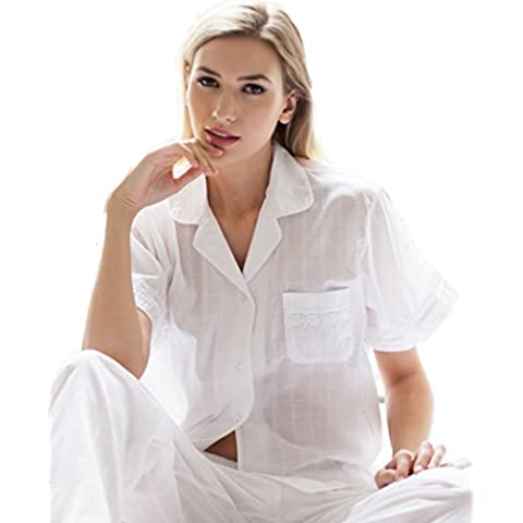 Cotton real Deluxe Jacquard Check Short Sleeve Classic PJ Set - White - Small to extra Large