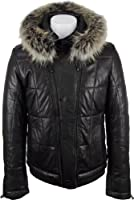 UNICORN Mens Luxury Hooded Puffer Leather Jacket (Real Raccoon fur Trim) Black #DO