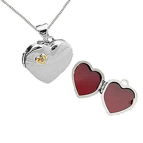 Austral Jewellery Ltd 925 Sterling Silber -Gold Überzogenes Echter Diamant Herz Eröffnung Medaillons - April (Sterling Silber Diamant-medaillon)