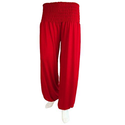 Glamexx24 Mesdames bloomers sarouel loisirs pantalon pantalons de couleurs différentes Rouge foncé