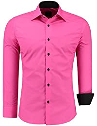 Hombre Manga Larga Camisa Slim Fit Tiempo Libre Business Fácil de planchar Camisa Manga Larga Camisa S–XXL)