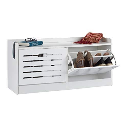 Relaxdays Schuhschrank weiß, 2 Klappen, Schuhkipper f. 8 Paare, Flurschrank f. Schuhaufbewahrung, HBT 46x97x30cm, White, Standard -