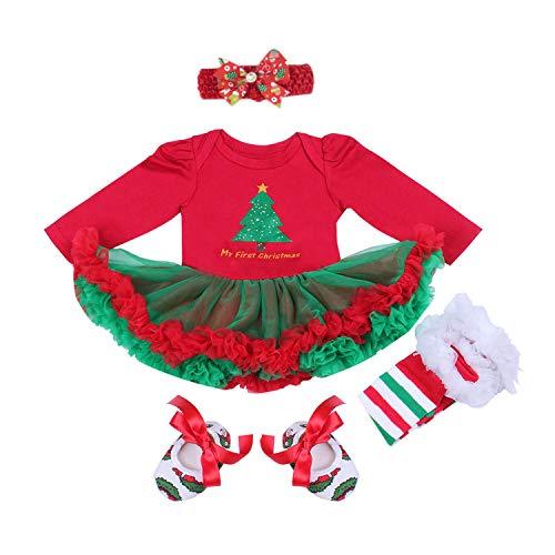 BabyPreg® Baby Mädchen Mein erstes Weihnachten Sankt Kostüm-Partei-Kleid 4PCS (XL12-18 Monate, Weihnachtsbaum-Lange Hülse)