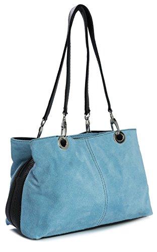 Big Handbag Shop - Borse a spalla donna Blu (Blu baby - orlo nero)