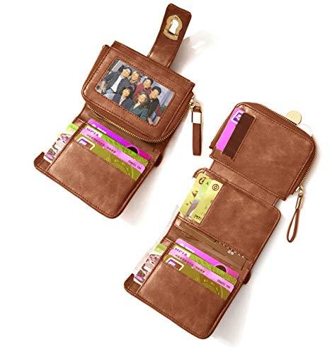 SUJAN Damen-Geldbörse aus Leder, dreifach gefaltet, mit 12 Kartenfächern, großes Fassungsvermögen - Braun - Einheitsgröße -
