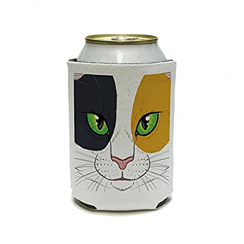 Calico Cat Face – Pet Kitty peut refroidisseur isolant – Drink – Boisson Isotherme Support