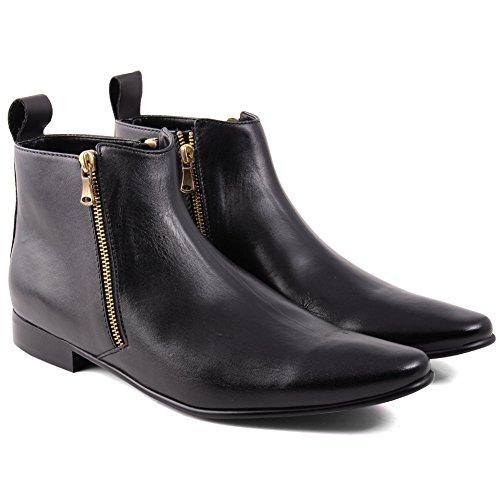 Unze Embe' Hommes cuir Harness bottes décontracté bottes Formel bottes boucled fermeture éclair bottes Noir