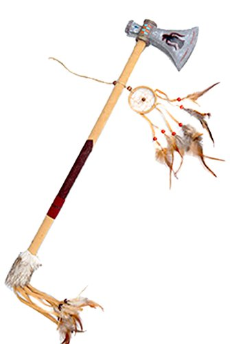 Halloweenia - Spielzeug Tomahawk Axt Indianer Kostüm Indianerkostüm Waffe mit Kunstlederstreifen und Federn, Mehrfarbig (Kostüm Tomahawk)