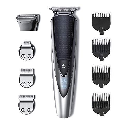 Hatteker - Maquinilla eléctrica cortapelo para barba, nariz y orejas, 5 en 1, impermeable