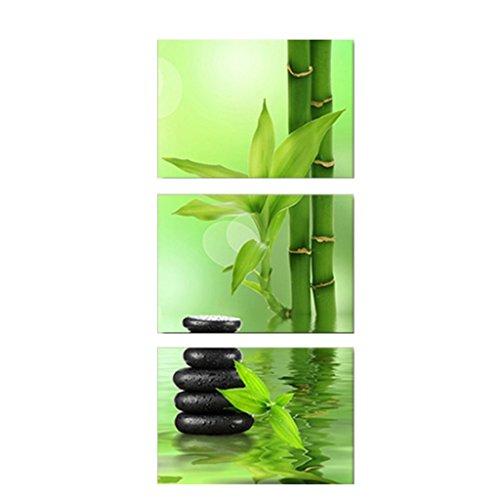 MagiDeal Wandbilder Kunstdruck Leinwand Bilder Set für Wohnzimmer Schlafzimmer Dekor, Natur-Serie - Stein Bambus, 30x30cm (3pcs ) (Bambus-schlafzimmer-set)