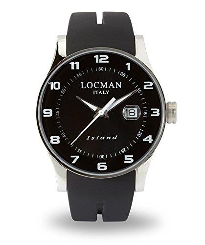 Locman Island Herrenuhr/Zifferblatt schwarz Stahlgehäuse und Titan Silikon Armband schwarz/ref. 060000KW-BKW2SIK