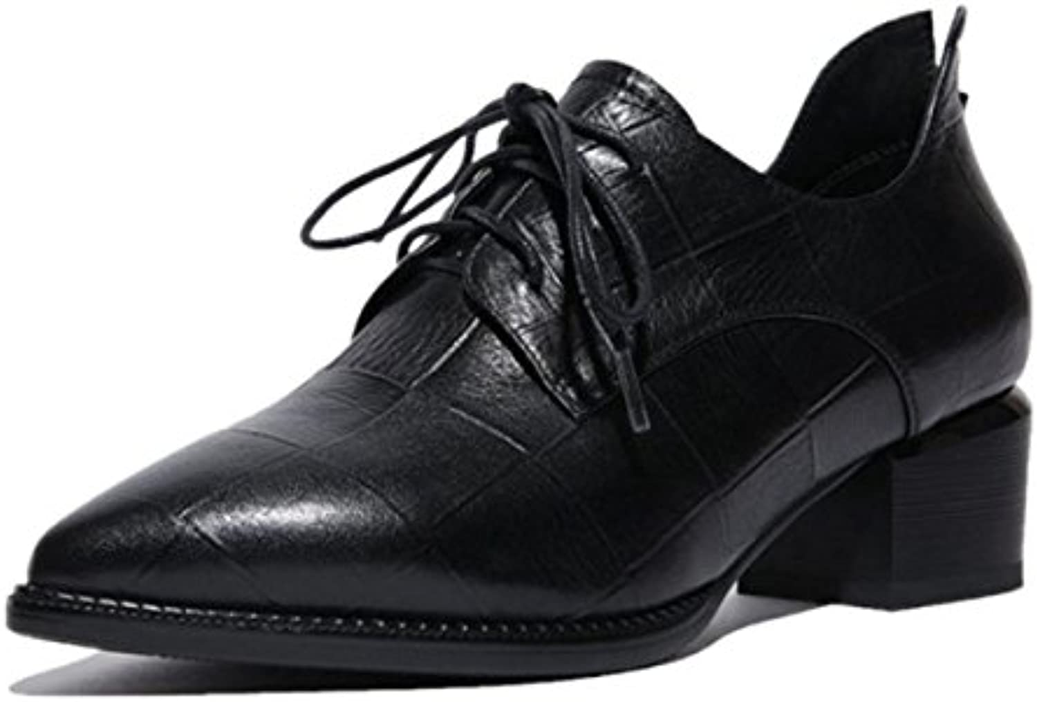 Femmes Dames Pointed Nouveautés Chaussures Chaussures Rough Low Mid Heel Pointed Dames Toe Strappy Genuine Leather Fall Winter...B074Z2TP4XParent 9086ae