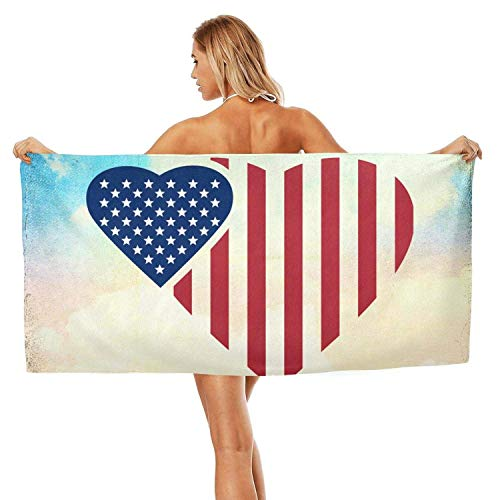 Jiger Indoor/Outdoor Soft Designer Extra Large Bath Towel Plush Quick Dry Absorbent Two Loving American Flags Luxurious Beach Towel 27.5