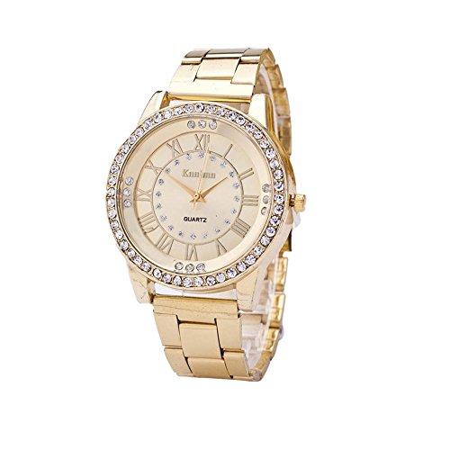 Sunnywill Neue Crystal Strass Edelstahl analoge Quarz-Armbanduhr für Frauen Mädchen Damen