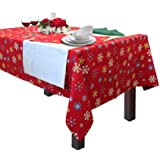 Homescapes - Christmas - Tablecloth - Red Snowflake - X Mas design - 54 x 70 Inch - 100% Cotton - White Green and Red Colour - Washable at Home