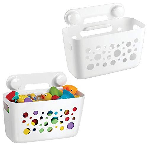 mDesign 2er-Set Duschkorb für Kinder zum Hängen – die ideale Duschablage für Shampoo, Schwämme, Rasierer und sonstiges Duschzubehör aus robustem Kunststoff – ohne Bohren zu montieren