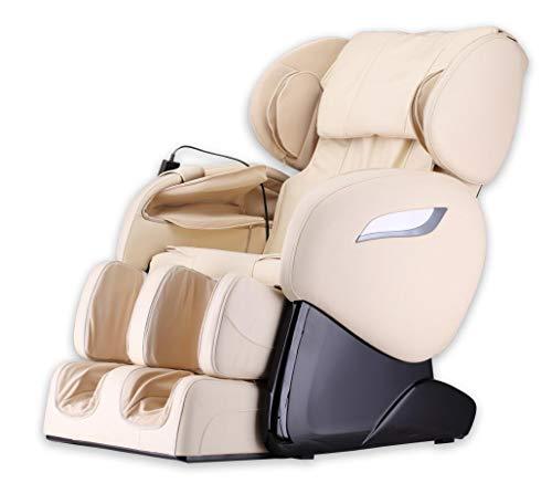 Luxus Massagesessel Shiatsu F2000 Leder beige/creme weiss mit Rollentechnik Massage + Heizung +...
