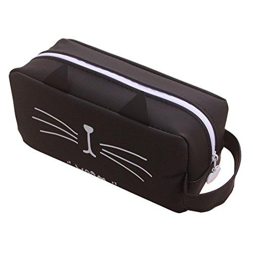 e91ec95ca3 Fablcrew Creative Cat à crayon Fermeture Éclair Sac de rangement pour  téléphone portable Maquillage Sac pour