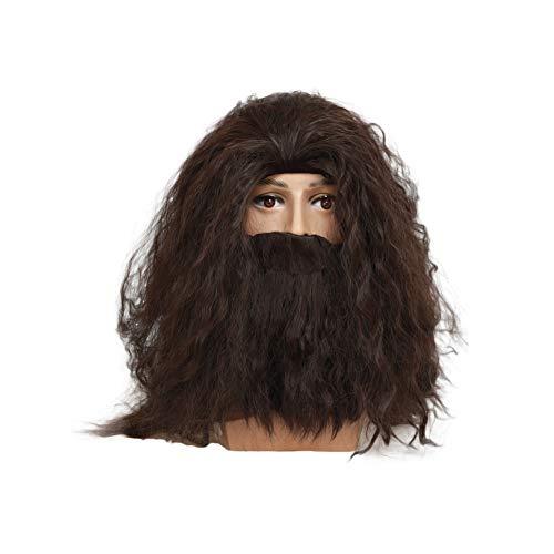(Mesky Cosplay Perücke Herren Wig mit Bart Rubeus Hagrid Vollbart Großes Volumen Braun mit Kostenlosem Haarnetz Verstellbar Kostüm Zubehör für Halloween, Karneval, Party und Fasching Atmungsaktiv)