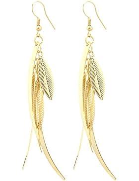 2LIVEfor Statement Ohrringe lang hängend Blätter Tropfen Blatt Ohrringe Bohemian Ohrhänger Ornamente Boho Blätter...