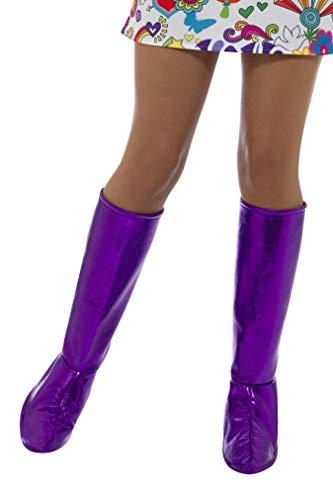 Smiffys Damen GoGo Stiefel Überzieher, One Size, Lila, 43067