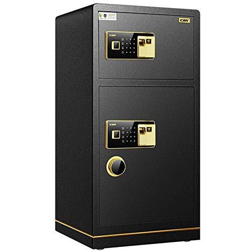 Abgesicherte Office All Steel Anti-Diebstahl-80cm hohe Große Doppeltür Sicher Fingerabdruck-Password Safe Startseite Vault-Safe (Farbe : Schwarz, Größe : 80x38x43cm)