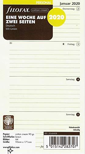 Filofax Kalendereinlage Personal 1 Woche auf 2 Seiten cotton cream (deutsch)2020