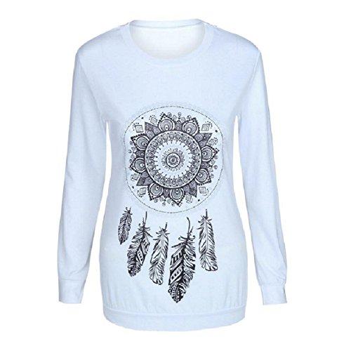 ... OverDose Damen Beiläufigen langen Hülsen-Feder-Drucken-T-Shirt Bluse  Tops Weiß ...