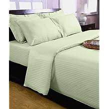 Homescapes Funda de almohada Confort con rayas de satén estilo-Housewife-50 x 75 cm de color Verde Claro en 100% algodon egipcio densidad de 130 hilos/cm²