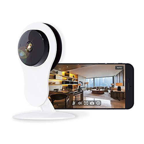Home Security Kamera Kompatibel mit Alexa Echo Show 720P Full HD WiFi Wireless IP-Kamera mit Bewegungserkennung Alarm, 4 x Digital Zoom, Nachtsicht und 2-Wege Audio (Britischer Regulierungsadapter) (Kamera Mit Alarm)