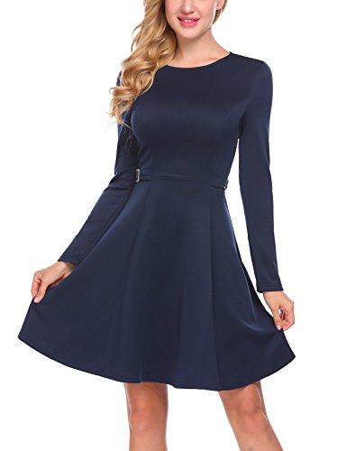 Finejo Damen Skaterkleid Elegant Kleider Basic Kleid A-Linie Partykleider O-Ausschnitt mit Falten Rock Weihnachten Swing Kleid