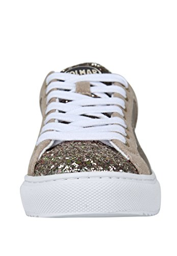 Colmar Bratre Gold Gold Shoes Mujer Zapatillas Leather Laces Glitter Gold