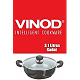 Vinod Cookware 3.1Ltrs Black Pearl World Class Hard Anodised Deep Kadai With Lid (Original Genuine Quality)