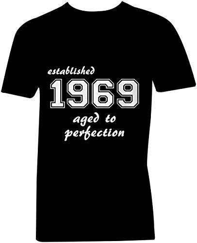 Established 1969 aged to perfection ★ V-Neck T-Shirt Männer-Herren ★ hochwertig bedruckt mit lustigem Spruch ★ Die perfekte Geschenk-Idee (01) schwarz