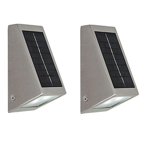 2er Set LED Solar Wand Lampen Fassaden Down Strahler Edelstahl Haus Tür Außen Leuchten Terrasse IP44
