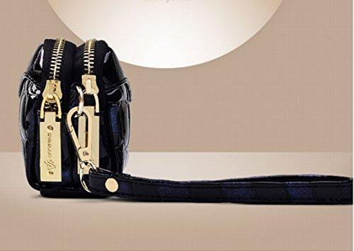 Gestepptes Leder Kupplung Dame Mini Wallets Leder Gradient Schalentasche Einfach Zufällig Hand Trägt Paket Europa Mode Tote Black