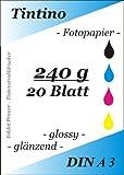 A3 - 20 Blatt Fotopapier Photopapier DIN - A 3 - 240g/qm - glossy glaenzend - sofort trocken - wasserfest - hochweiß - sehr hohe Farbbrillianz fuer InkJet Drucker Tintenstrahldrucker
