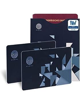 Tarjetas De Bloqueo RFID Y 2 Fundas De Pasaporte De Regalo, Con Certificación Alemana (TUV) | Anti Robo De Información...