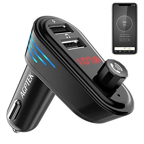 AGPTEK Bluetooth 4.2 FM Transmitter mit Auto Finder, Auto Radio Adapter mit Dual USB (5V/2.1A, 5V/1A), Freisprecheinrichtung und GPS Tracker App für IOS und Android