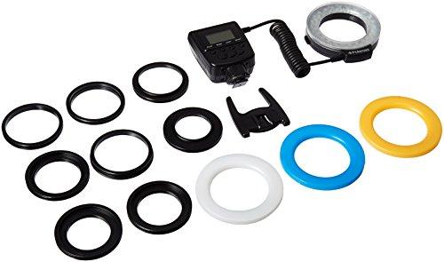 Leuchtring und Flash Macro mit 48LED der Polaroid dass inklusive 4Diffusoren (transparent, Warming/Orange, Blau, Weiß) für Digitalkameras SLR Canon, Nikon, Panasonic, Olympus und Pentax (passt auf Objektive von 49, 52, 55, 58, 62, 67, 72, 77mm)