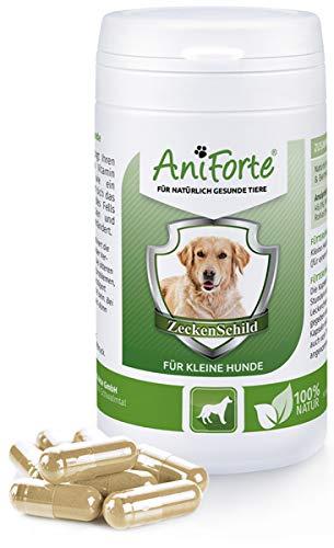 AniForte Zeckenschild für kleine Hunde 60 Kapseln - Natürlicher Zeckenschutz, Abwehr gegen Zecken und Parasiten, Anti-Zecken Schutz, Zeckenabwehr Naturprodukt, Hunde bis 10kg