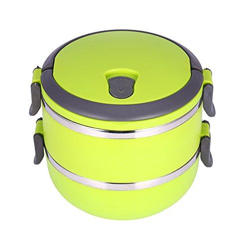 Yosoo Lunchbox Tragbare Isolierung Edelstahl Innendämmung Thermal Leakproof 1/2/3 Fächer mit Griff Foodbehälter Warmhaltebox für Essen (2 Layer, Grün)