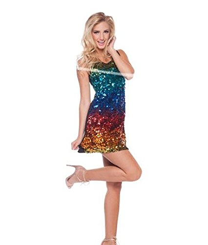 Imagen de vestido de lentenjuelas color arcoiris disfraz carnaval halloween accesorios disco talla s/m
