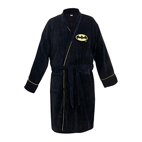 GroovyHerren Morgenmantel, Einfarbig Schwarz Schwarz, Black, M (Gürtel Fashion Batman)